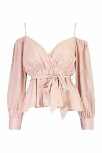 Womens Cold Shoulder WrapTie Waist Top - pink - 14, Pink