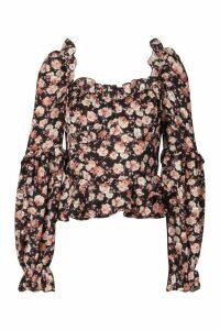 Womens Woven Floral Ruffle Detail Blouse - Black - 12, Black