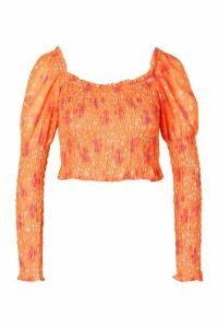 Womens Woven Floral Shirred Top - Orange - 16, Orange