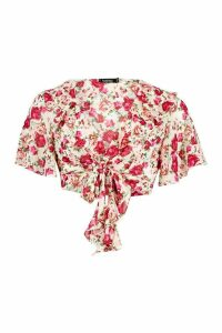 Womens Woven Floral Ruffle Tie Front Top - beige - 14, Beige
