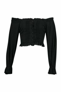 Womens Woven Off The Shoulder Lace Trim And Ruffle Top - black - 16, Black