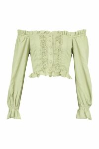 Womens Woven Off The Shoulder Lace Trim And Ruffle Top - green - 16, Green