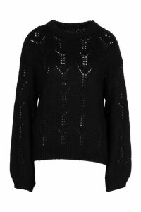 Womens Pointelle Oversized Jumper - Black - L, Black