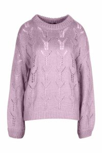 Womens Pointelle Oversized Jumper - Purple - L, Purple