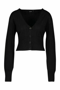 Womens Rib Knit Button Through Balloon Sleeve Cardigan - black - M, Black