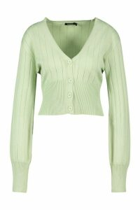 Womens Rib Knit Button Through Balloon Sleeve Cardigan - Green - L, Green