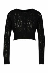 Womens Pointelle Knitted Cropped Cardigan - black - M, Black