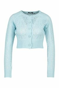 Womens Pointelle Knitted Cropped Cardigan - blue - M, Blue