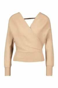 Womens Rib Knit Wrap Top - beige - M, Beige