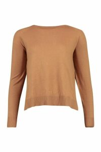 Womens Fine Knit Crew Neck Top - Beige - L, Beige