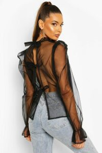 Womens Organza Puff Sleeve Pussy Bow Blouse - black - 14, Black