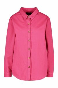 Womens Oversized Denim Shirt - Pink - 16, Pink