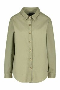 Womens Oversized Denim Shirt - Green - 16, Green