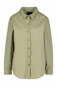 Womens Oversized Denim Shirt - green - 16, Green