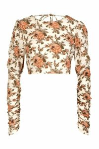 Womens Floral Woven Open Back Blouse - white - 10, White
