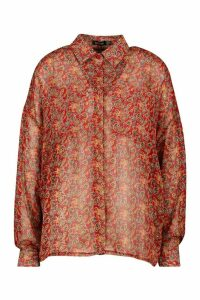 Womens Paisley Metallic Stripe Shirt - red - 14, Red