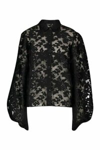 Womens Floral Organza Oversized Sleeve Shirt - black - 10, Black