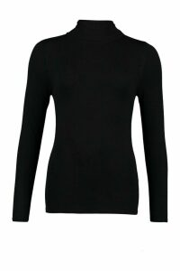 Womens Tall Crew Neck Fine Knit Jumper - black - M, Black