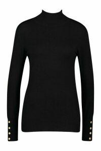 Womens Tall Roll Neck Fine Gauge Jumper - black - M, Black