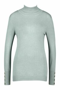 Womens Tall Roll Neck Fine Gauge Jumper - blue - M, Blue