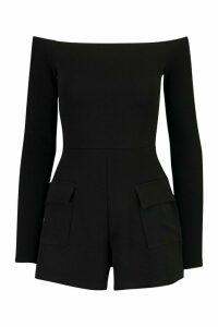 Womens Tall Front Pocket Off Shoulder Playsuit - black - 18, Black