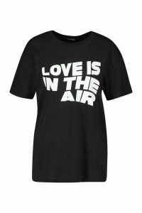 Love Is In The Air Slogan T-Shirt - black - M, Black
