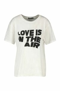 Love Is In The Air Slogan T-Shirt - White - M, White