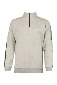 Woman Taped Funnel Neck Half Zip Oversized Jumper - Grey - 14, Grey