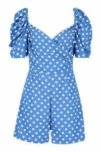 Womens Puff Sleeve Sweetheart Polka Dot Playsuit - Blue - 16, Blue