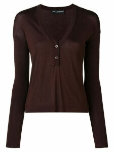 Dolce & Gabbana Pre-Owned 1990's button V-neck jumper - Brown