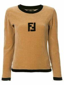 Fendi Pre-Owned velvet effect longsleeved top - Brown
