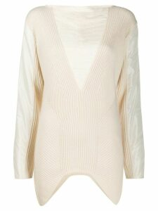 Gianfranco Ferré Pre-Owned ribbed details long-sleeved blouse - White