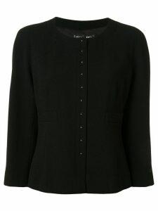 Chanel Pre-Owned slim-fit collarless jacket - Black