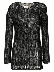 Yohji Yamamoto Pre-Owned loose fisherman knit jumper - Black