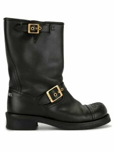 Chanel Pre-Owned CC stitch buckled boots - Black
