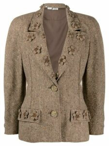 Valentino Pre-Owned 1980s floral appliqués slim-fit jacket - Brown