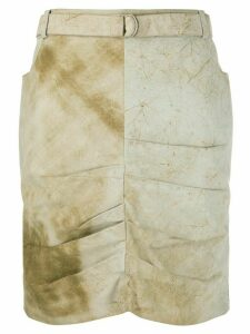 Christian Dior Pre-Owned 2000s marble effect draped skirt - NEUTRALS