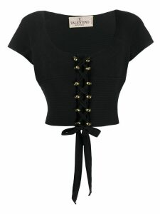 Valentino Pre-Owned 1970s quilted lace-up blouse - Black