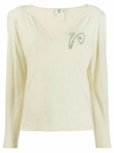 Valentino Pre-Owned 1980s rhinestone logo knitted blouse - NEUTRALS