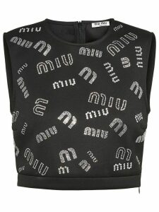 Miu Miu crystal-embellished logo crop top - Black