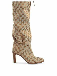 Gucci GG canvas mid-heel boot - NEUTRALS