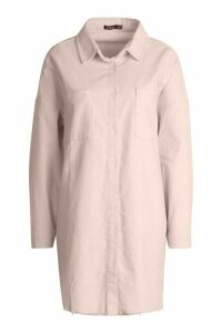 Womens Raw Edge Oversized Cord Shirt - white - 14, White