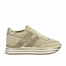 Hogan Sneakers Hogan 483 Midi Platform Sneakers In Perforated Suede With Big H