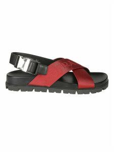 Prada Logo Detail Cross Strap Sandals