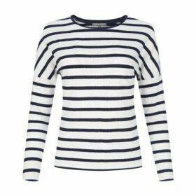 Drop Shoulder Retro Stripe Jersey Top