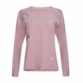 Heather Pink Embroidered Step Hem Sweat Top