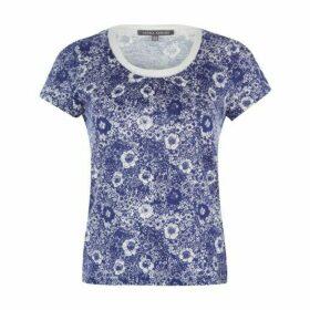 Blue Poppy Field Printed TShirt