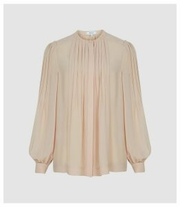 Reiss Handen - Pleat Detailed Blouse in Pale Pink, Womens, Size 16