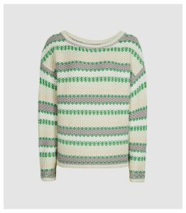 Reiss Anna - Pastel Stripe Knitted Jumper in Green/white, Womens, Size XL