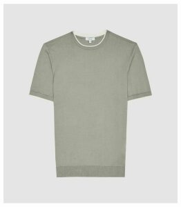 Reiss Romer - Knitted Crew Neck Top in Bay Leaf, Mens, Size XXL